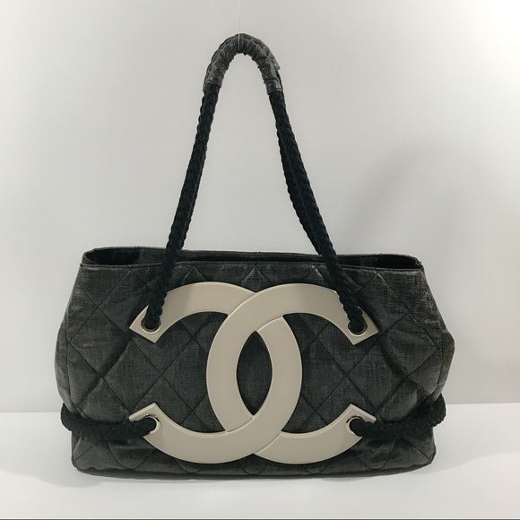 e36a008b12bfe2 CHANEL Handbags - Authentic Chanel Coated Canvas Large CC Beach Tote